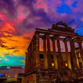 templo Diana, Mérida sunset by -. Phœnix .- - Buildings & Architecture Statues & Monuments