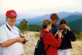 Photo: Trying to capture on film the scenic view from the top of the ski hill, Pajarito Mountain; 1996 KMH