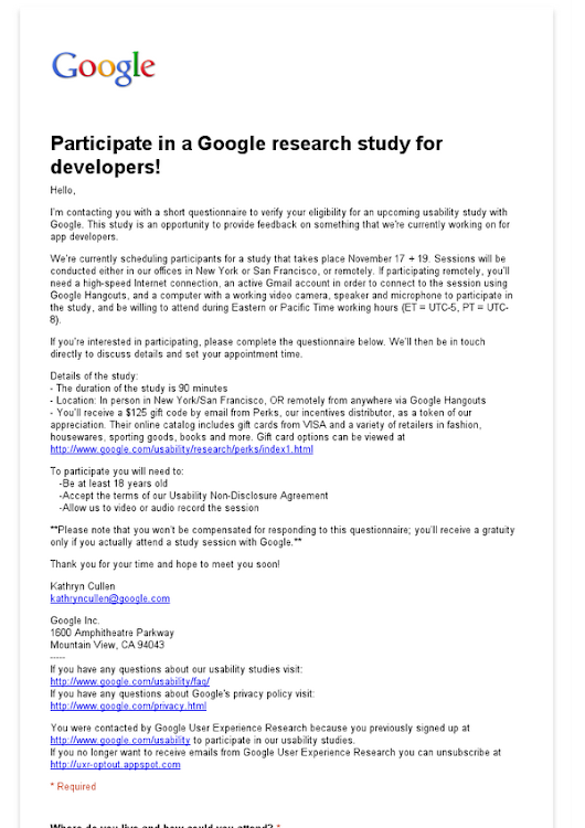 Participate in a Google research study for developers!