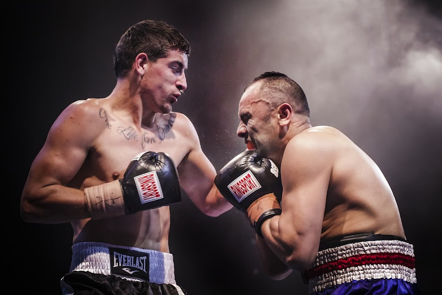 Right on the chin by Kim Johnson - Sports & Fitness Boxing ( punch, fight, combat, boxers, boxing )