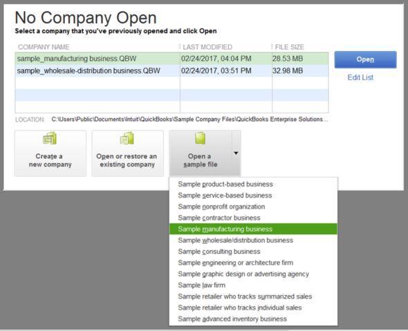 Open up a sample company file - Screenshot Image