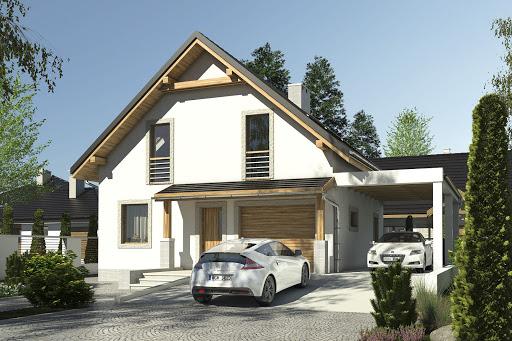 projekt Turkawka II z garażem i wiatą A1