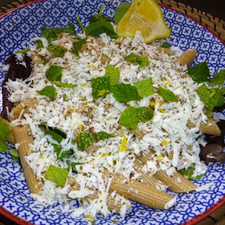 Whole Wheat Pasta Salad with Halloumi, Lemon and Herbs.