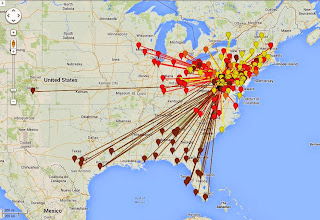 Photo: K8GP/R - ALL 50-432 MHz QSO map - ARRL June VHF 2014 - Brn=50 Red=144 Org=222 Yel=432