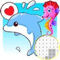 Dolphin And Friends Color By Number - Pixel Art icon