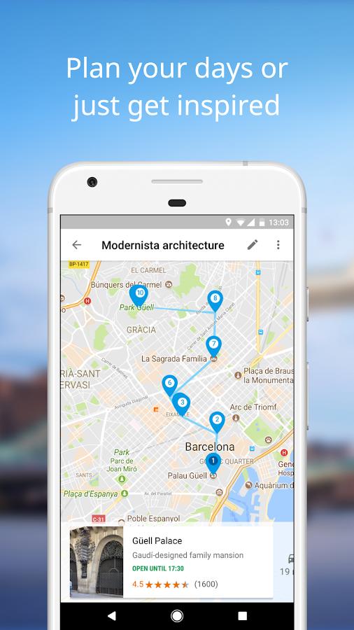 Aplikacija Google Trips.