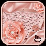 Pink Rose Gold Diamond Drops Keyboard Theme