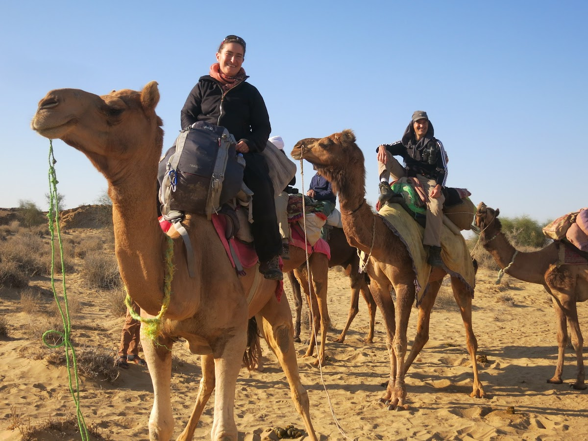India. Rajasthan Thar Desert Camel Trek. Ready to ride out our camel trek