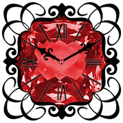 Red Diamond Clock Widget