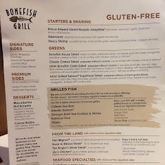 Gluten free menu I was given at the restaurant