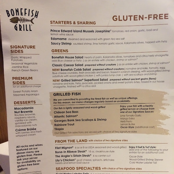 Gluten Free At Bonefish Grill Gluten Free Menu