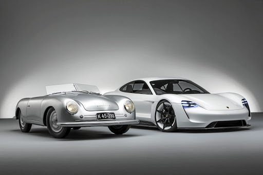 The one that started it all, the 356 roadster and the concept Mission E. Picture PORSCHE
