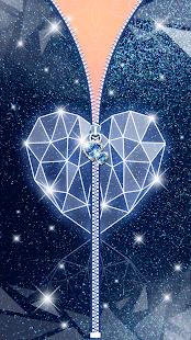 Diamond Heart Zipper Lock Screen - náhled