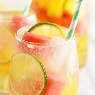Summer Sangria with Watermelon and Pineapple.