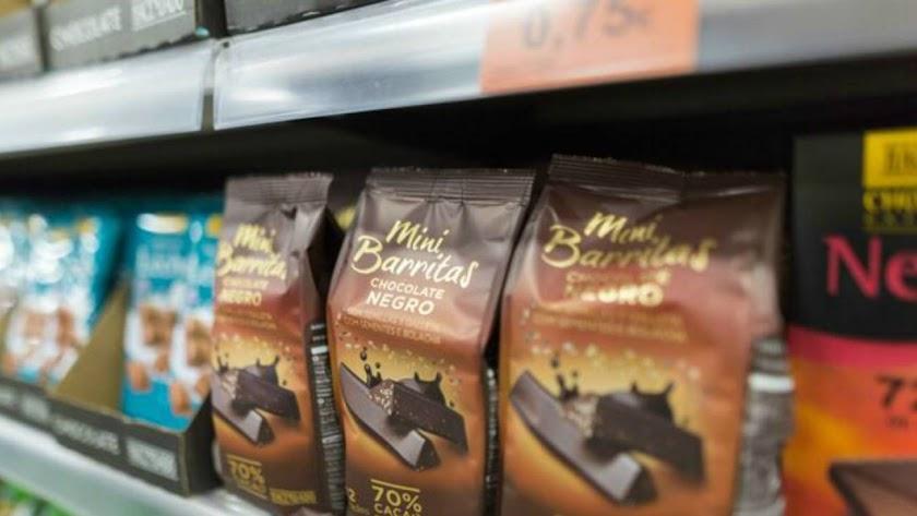 Barritas de chocolate de la marca Hacendado.