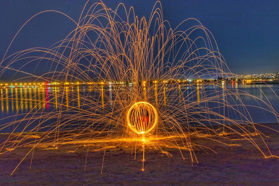 Fire Orb in San Digo by Anthony Drake - Landscapes Beaches ( night photography, spinning, fireworks, cityscape, fire,  )