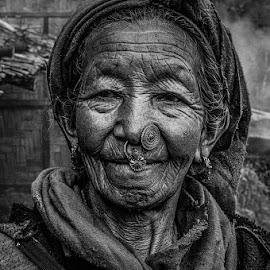 Old Beauty by Rajdeep Biswas - Black & White Portraits & People ( woman, beauty, portrait, sikkim, indian,  )