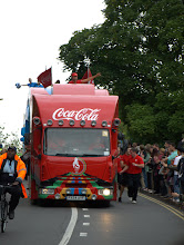 Photo: First Major Sponsor lorry presages Olympic flame  - Cambridge 2012