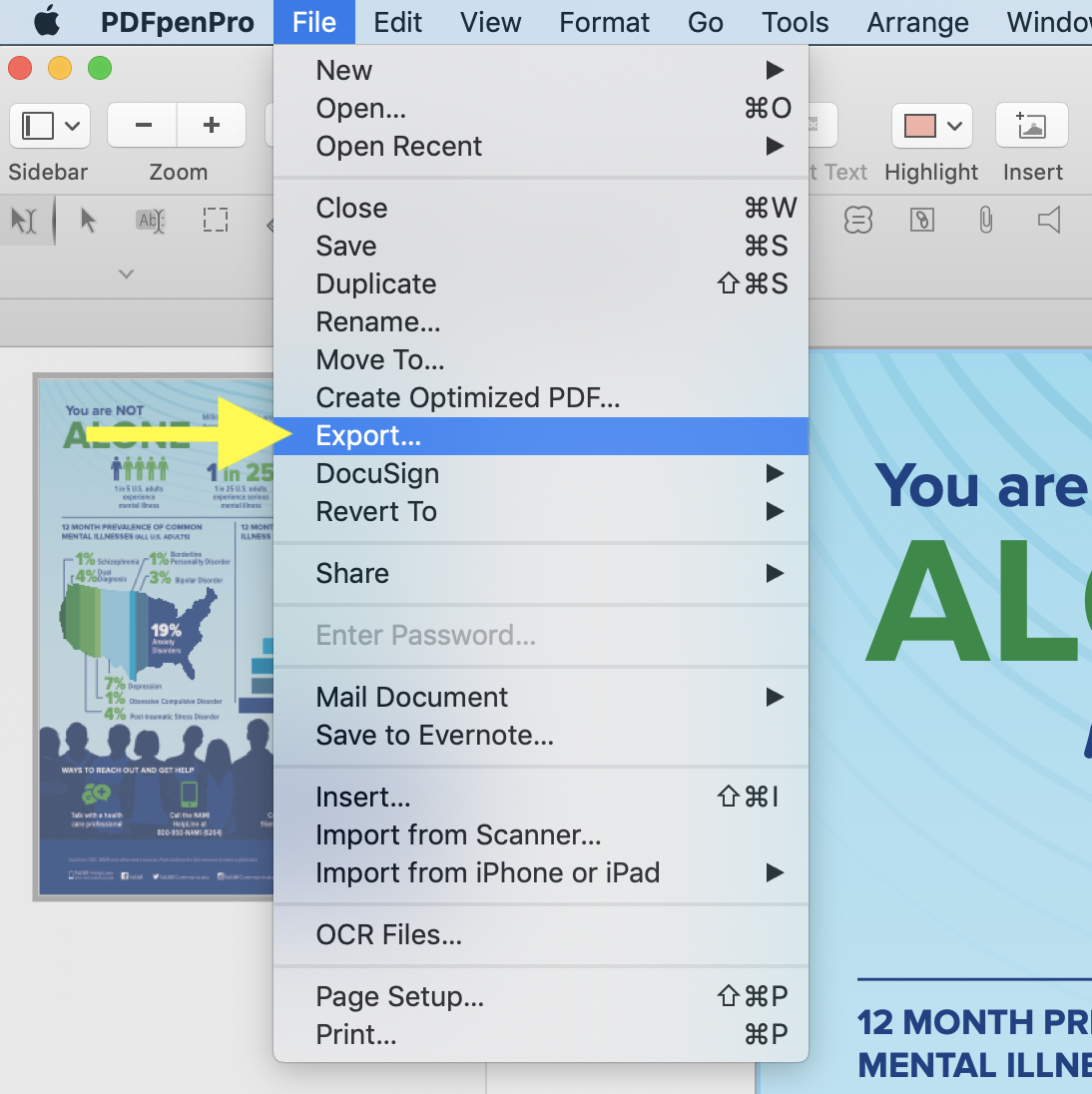Choose File>Export from the PDFpenPro menu to convert to PDF/A format.
