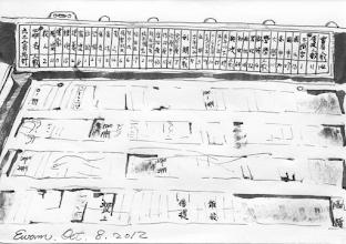 Photo: 個資牌與統計表2012.10.08鋼筆 工場主管桌上一定會有一排排寫著各收容人刑號、姓名、罪名、犯次、刑期、病痛的個資小牌子,厚工一點的還會有犯罪類型的統計表,為的就是要清楚掌握工場收容人的犯罪比例及特性。