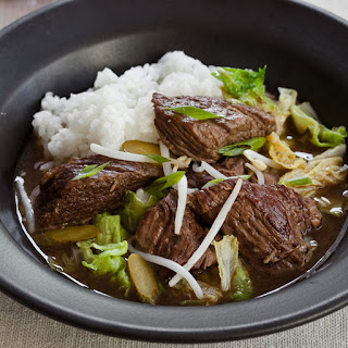 Slow Cooker Korean Beef Stew with Napa Cabbage and Pickles.