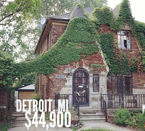 Detroit real estate includes low-priced, abandoned mansions.