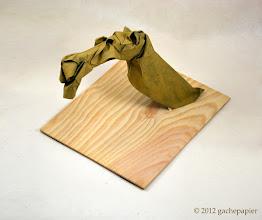 Photo: chameau - sandwich lokta sur Tonpapier + acrylique - carré de 50cm
