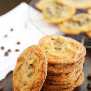 Thin and Chewy Chocolate Chip Cookies.