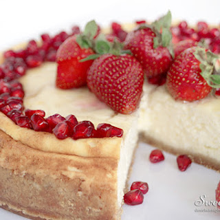Strawberry Pomegranate Light Cheesecake