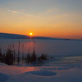 Sunset in winter by Mony Fifinková - Landscapes Sunsets & Sunrises ( winter, nature, colors, sunset, snow )