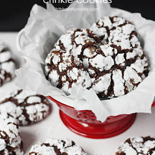 Double Chocolate Crinkle Cookies.
