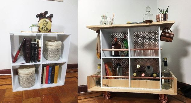 Transform an old bookshelf into a stunning bar cart for the home. Here's how