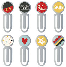 Simple Stories Carpe Diem Epoxy Top Metal Clips 8/Pkg - Say Cheese III UTGÅENDE