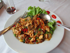 Photo: Fried noodles with chicken and basil