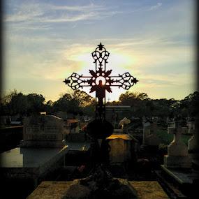 Sunset on St John's Cementery by Larry Landry - Instagram & Mobile Android ( st john's church, cemetery, lafayette, sunset with cross, cross )