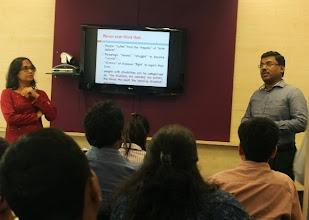 Photo: Ritika and Thomas addressing the employees of L'Oreal Powai