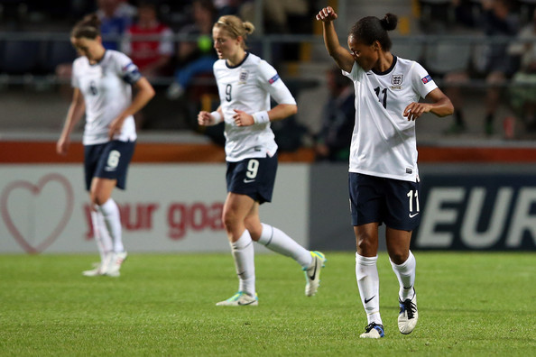 Ellen White, Casey Stoney, Rachel Yankey - England v Spain - UEFA Women's Euro 2013: Group C