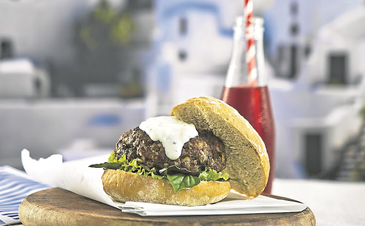 Feta-stuffed lamb burgers.