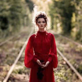 *** by Valentyn Kolesnyk - People Portraits of Women ( look, rose, red, woman, portrait )