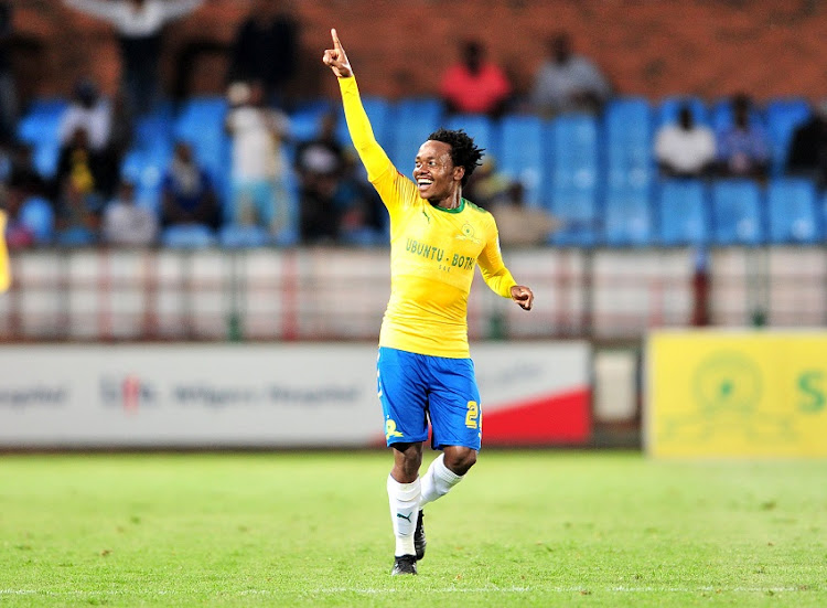 Percy Tau of Mamelodi Sundowns celebrates a goal during the Absa Premiership 2017/18 football match between Mamelodi Sundowns and Maritzburg United at Loftus Stadium, Pretoria on 13 December 2017.