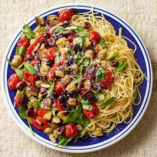 Mediterranean Pasta Salad with Eggplant.