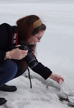 Photo: Rhonda grabbing a chunk of ice.