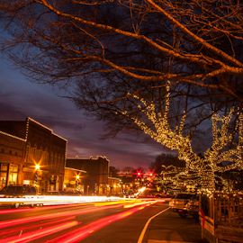 Small Town Holiday by Myra Brizendine Wilson - City,  Street & Park  Night ( night cityscape, christmas lights in waxhaw, nc, christmas theme, christmas lights )
