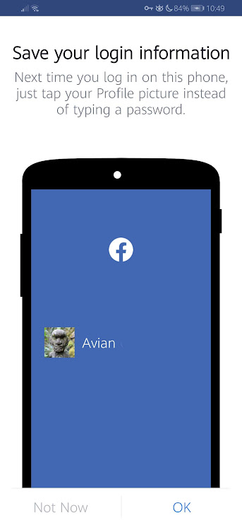 Facebook Mobile Save your Login Information Not Now