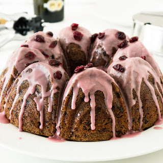 Glazed Cranberry Chocolate Red Wine Cake