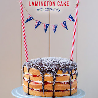 Lamington Cake with Milo Icing for Australia Day