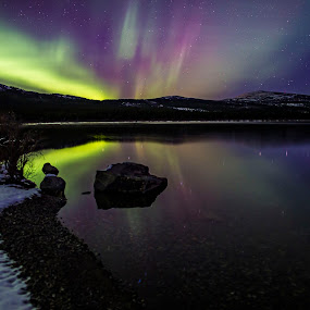 Northern Lights Reflection by Heather Campbell - Landscapes Starscapes ( reflection, mountain, winter, stars, snow, northern lights, aurora borealis, long exposure, night,  )