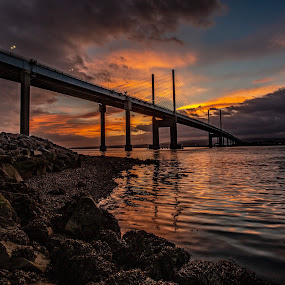 Dawn light at Kessock Bridge  by Gordon Bain - Buildings & Architecture Bridges & Suspended Structures ( inverness, kessock bridge, dawn, scotland )