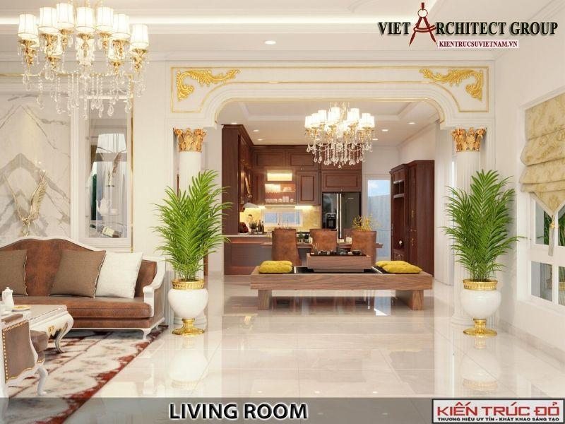 thiet ke noi that phong khach biet thu tan co dien 4 - Thiết kế biệt thự 3 tầng kiến trúc tân cổ điển ở Huế