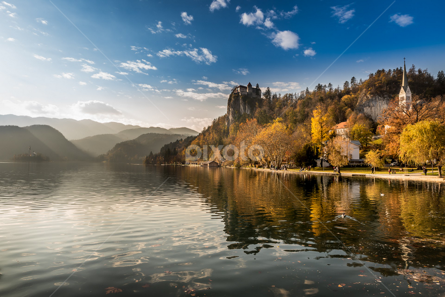 Bled by Aleksandra Jereb - Landscapes Waterscapes ( blue sky, church, waterscape, slovenia, bled, lake, castle, cityscape, island )
